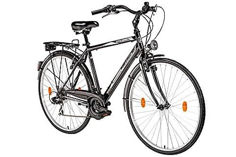 Herrenfahrrad 28 Zoll Hillside City Bird in schwarz Stadtrad City Bike Citybike 21 Gang Shimano Tourney Schaltung Beleuchtung Gepäckträger Seitenständer