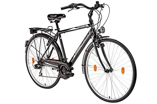 Herrenfahrrad 28 Zoll Hillside City Bird in schwarz Stadtrad City Bike Citybike 21 Gang Shimano Tourney Schaltung Beleuchtung Gepäckträger Seitenständer Trekkingrad