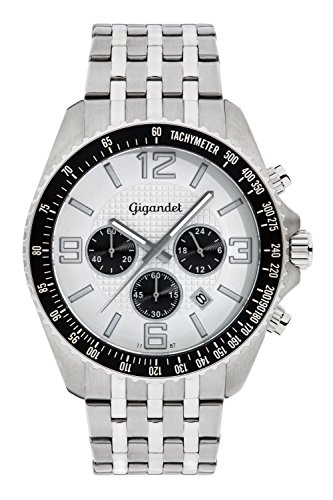 Gigandet Fast Track Men's Analogue Wrist Watch Quartz Chronograph Silver Black G12-004