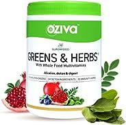 OZiva Superfood Greens & Herbs (Supergreens Powder with Alkalizing Greens & Herbs like Chollera, Spiru