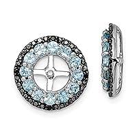 925 Sterling Silver Swiss Blue Topaz and Black Sapphire Earrings Jacket Jewelry Gifts for Women