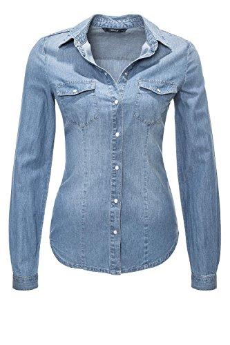 ONLY Damen Jeansbluse Hemdbluse Langarmbluse (M, Hellblau)
