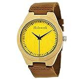 Handgefertigte Holzwerk Germany® Designer Damen-Uhr Herren-Uhr Öko Natur Holz-Uhr Leder Armband-Uhr Analog Klassisch Quarz-Uhr in Braun Gelb Ahorn