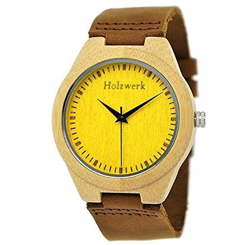 Handgefertigte Holzwerk Germany® Designer Damen-Uhr Herren-Uhr Öko Natur Holz-Uhr Leder Armband-Uhr Analog Klassisch Quarz-Uhr in Braun Gelb Ahorn -