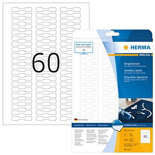 HERMA 5116 Preisetiketten DIN A4 blickdicht (49 x 10 mm, 25 Blatt, Papier, matt) selbstklebend, bedruckbar, extrem stark haftende Schmuck-Etiketten, 1.500 Klebeetiketten, weiß
