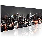 Cuadro en Lienzo 135x45cm ! Impresion en calidad fotografica - Cuadro en lienzo tejido-no tejido New York NY Ciudad City 030211-52 135x45 cm B&D XXL