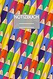 Notizbuch A5 Muster ABC Grundschule Schule School Stifte Stfit Bunt Malstift: • 111 Seiten  • EXTRA Kalender 2020 •  Einzigartig •  Liniert •  Linie •  Linien  • Geschenk • Geschenkidee