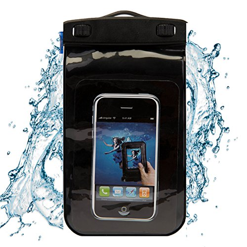 SumacLife Wasserdicht Tasche mit Umhängeband für Einfache Mobile Samsung Galaxy ON5/J7/Virgin Mobil Samsung Galaxy J3/Note 5/Note 4/Note 8, Schwarz, Medium (Mobile 5 Virgin Samsung)
