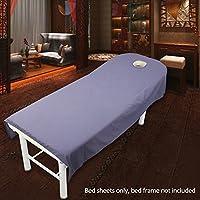 Sábana bajera de salón de belleza para tratamiento de masaje, sábanas suaves con agujero, color morado