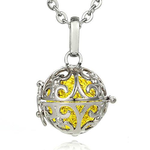 Morella® Damen Halskette Edelstahl 70 cm mit Ornament Anhänger und Klangkugel Zirkonia gelb Ø 16 mm in Schmuckbeutel - Gelbe Chakra-anhänger
