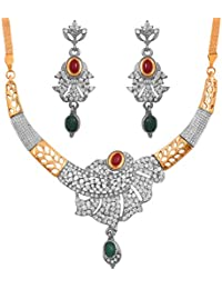 Touchstone Indian Bollywood Two Tone Faux Emeralds Rubies And Diamante Jewelry Necklace Set For Women