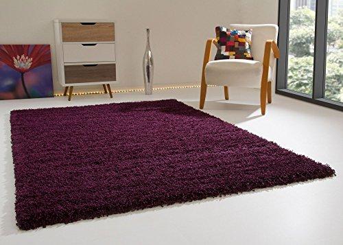 Shaggy Hochflor Teppich Happy XL Langflor Teppich in Aubergine mit Öko-Tex Siegel, Größe: 80x150 cm Teppich Aubergine