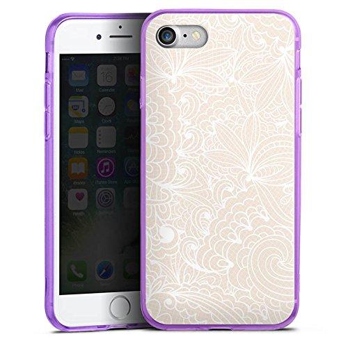 Apple iPhone 8 Silikon Hülle Case Schutzhülle Spitze Muster Blumen Silikon Colour Case lila