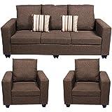 Bharat Lifestyle Corsa Fabric 3 + 1 + 1 Sofa Set, Dark Brown