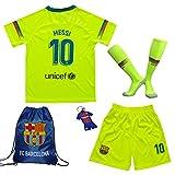 MEMENTO 2018/2019 Barcelona #10 Lionel Messi Auswärts Kinder Fußball Trikot Hose und Socken Kindergrößen (5-6 Jahre)