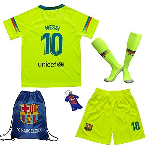MEMENTO 2018/2019 Barcelona #10 Lionel Messi Auswärts Kinder Fußball Trikot Hose und Socken Kindergrößen (11-12 Jahre)