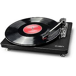 ION Compact LP Black - Tocadiscos de 3 velocidades con conversión digital USB
