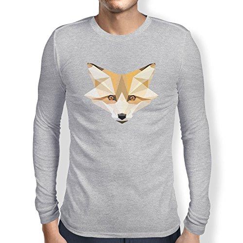 TEXLAB - Foxy Polygons - Herren Langarm T-Shirt Grau Meliert
