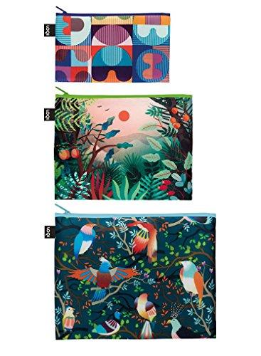 Produktbild LOQI HVASS&HANNIBAL Grid, Arbaro, Birds Zip Pockets Zip-Etuis