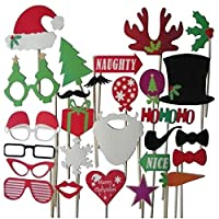 DIY Photo Booth Props Mustache Lip Hat Antler Gift Stick Christmas Party