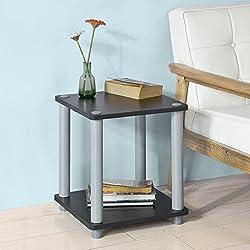 SoBuy® FBT47-SCH,ES Mesa auxiliar cuadrada con 2 estantes, Consola,mesita de noche para salón comedor