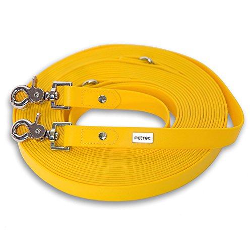pettec-schleppleine-10m-aus-trioflextm-gelb-wetterfest-wasserabweisend-robuste-hundeleine