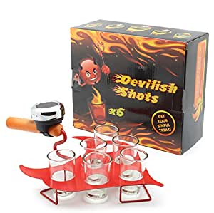 DECO EXPRESS Devilish Tray Shots Drinking Game | Fun Cocktail Serving for Women's Hen or Men's Stag Party | Funny Adult Novelty Gifts for Beer & Alcohol Games | Set of 6 Shot Glasses, Red Tray & Bell
