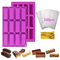 Sycle circle 2 Pack 12 Cavity Rectangle Granola Bar Silicone Mould + 100pcs Treat Bags, Nutrition Energy Cereal Chocolate Bar Molud for Baking Bread Brownie Cheesecake Butter Soap Mold