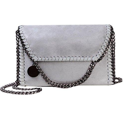 AiSi Leder Handtasche mit Kette, Lässig Stil Handtasche, Metallic Umhängetasche mit Kette (grau)