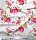Soimoi Weiß Baumwoll-Popeline Stoff Blätter, Rose &