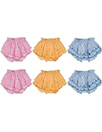 GURU KRIPA BABY PRODUCTS Presents Cotton Fabric Back Frill Panty for Baby Girl Inner Wear Drawer/Bloomer Underwear Brief Girl Casual Nikker for Baby Girls Pack of 6 Pcs 3 to 6 Months