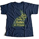 A002-336n Let The Past Make You Better Not Bitter Herren T-Shirt Rabbit Buddha Faith God Quote Jesus Heaven Love(Small,Navy)