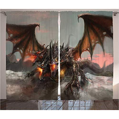 WKJHDFGB Fantasy World Vorhänge Abbildung Von DREI Köpfen Feuer Drachen Große Monster Gothic Thema Wohnzimmer Schlafzimmer Dekor,215X200Cm -