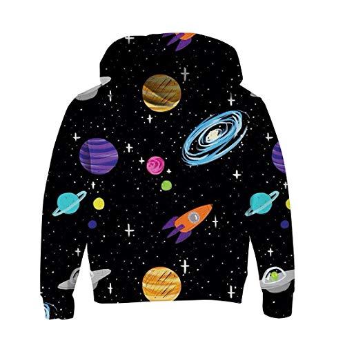 RAISEVERN Unisex Jugend Jungen Mädchen Sport tragen Sweatshirt Pullover 3D Print Planet Hoodies für 12 13 14 15 Jahre Kind Vintage Style