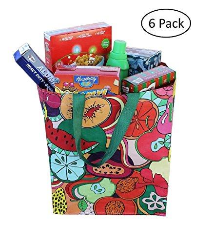Earthwise - Bolsas de la compra reutilizables con impresión de collage de frutas, tamaño grande, 46 cm x 35 cm x 20 cm (paquete de 6)