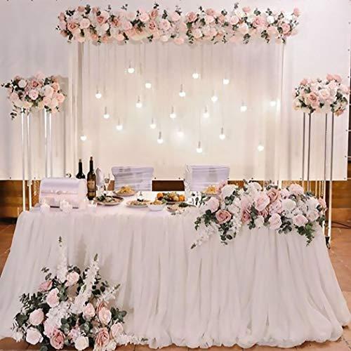 FunPa Tüll Tischdecke, Tutu für Tisch Tischrock Tüll Tischdecke Weiß Tüll Tischröcke Tisch Dekoration für Rechteckigen Runden Tisch für Hochzeit Party Baby Dusche Babyparty Geburtstags Party Decor