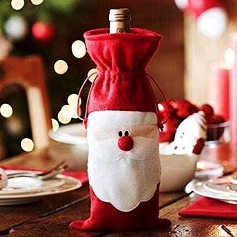 nabati 1Pcs Xmas Santa Claus Red Wine Bottle Cover Bags Christmas Table Dinner Decoration Home Party Decors by Bei wang