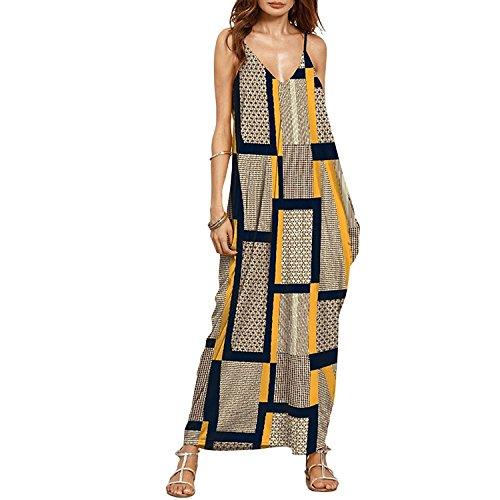 Minetom Mujer Elegante V-Cuello Sin Mangas Impresión Suelta Largo Vestido Boho Comodidad Maxi Dress Verano De Playas Para Fiesta Amarillo ES 48