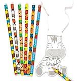 Baker Ross Ensemble de Papeterie composé de Crayons Motif Amis de la Jungle, à Offrir et à Glisser dans Les Pochettes-Surprises des Enfants Lors des fêtes (Lot de 12).