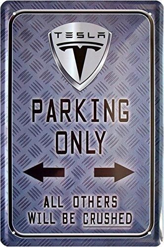 Preisvergleich Produktbild Tesla Parking Only Car Auto 20x30 cm Blechschild 840