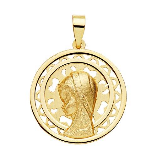Iyé Biyé Medalla comunión Virgen niña Calada 17 mm Oro Amarillo 18 ktes matizada. Grabado Incluido