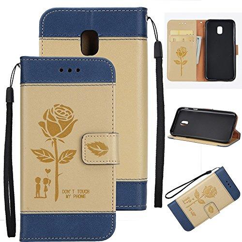 EKINHUI Case Cover Gemischte Farben Rose Blume matt Premium PU Leder Brieftasche Stand Case Cover mit Lanyard & Card Slots für Samsung Galaxy J330 ( Color : White ) Gold