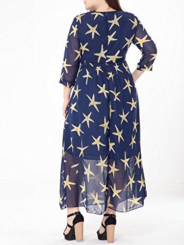 Damen Sommer Lange Ärmel Maxikleid Strandkleid Lange Kleider Partykleid Floral Abendkleid Blau