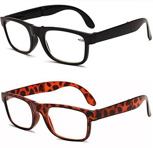 VEVESMUNDO Lesebrille Faltbar Anti Müdigkeit Computer Sehhilfe Arbeitsplatzbrille NerdBrille mit Stärke 1.0 1.5 2.0 2.5 3.0 3.5 4.0 Schwarz Leopard Lesehilfe für Herren Männer Damen