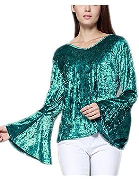 Señoras del Invierno Elegante Blusa de Terciopelo Pajarita Flare Sleeve Tops Mujeres Verde Negro con Cuello en...