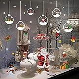 UMIPUBO NoëL Autocollants Fenetre Décoration DIY Boule de Noel Santa Flocons de Neige Amovibles Statique Stickers Fête de Noël Décalcomanie Cadeau de Noël pour Magasin Maison