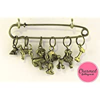 Dogs - 5 Bronze Knitting Stitch Markers by Charmed Knitting - Gift Bag Dog