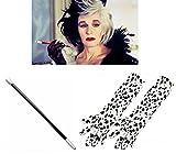 DeVille Cruella-Set, Punktemuster, lang, Handschuhe und Zigaretten HALTER-Kostüm