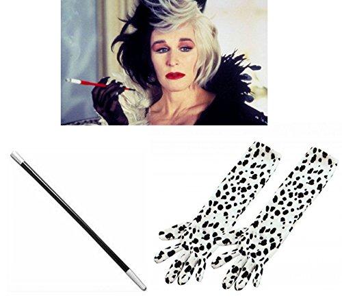 Punktemuster, lang, Handschuhe und Zigaretten HALTER-Kostüm (Cruella Deville Kostüme Erwachsene)