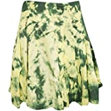 Mogul Interior Womens Bohemian Skirt Tie- Dye Green Cotton Gypsy Sexy Mini Skirts